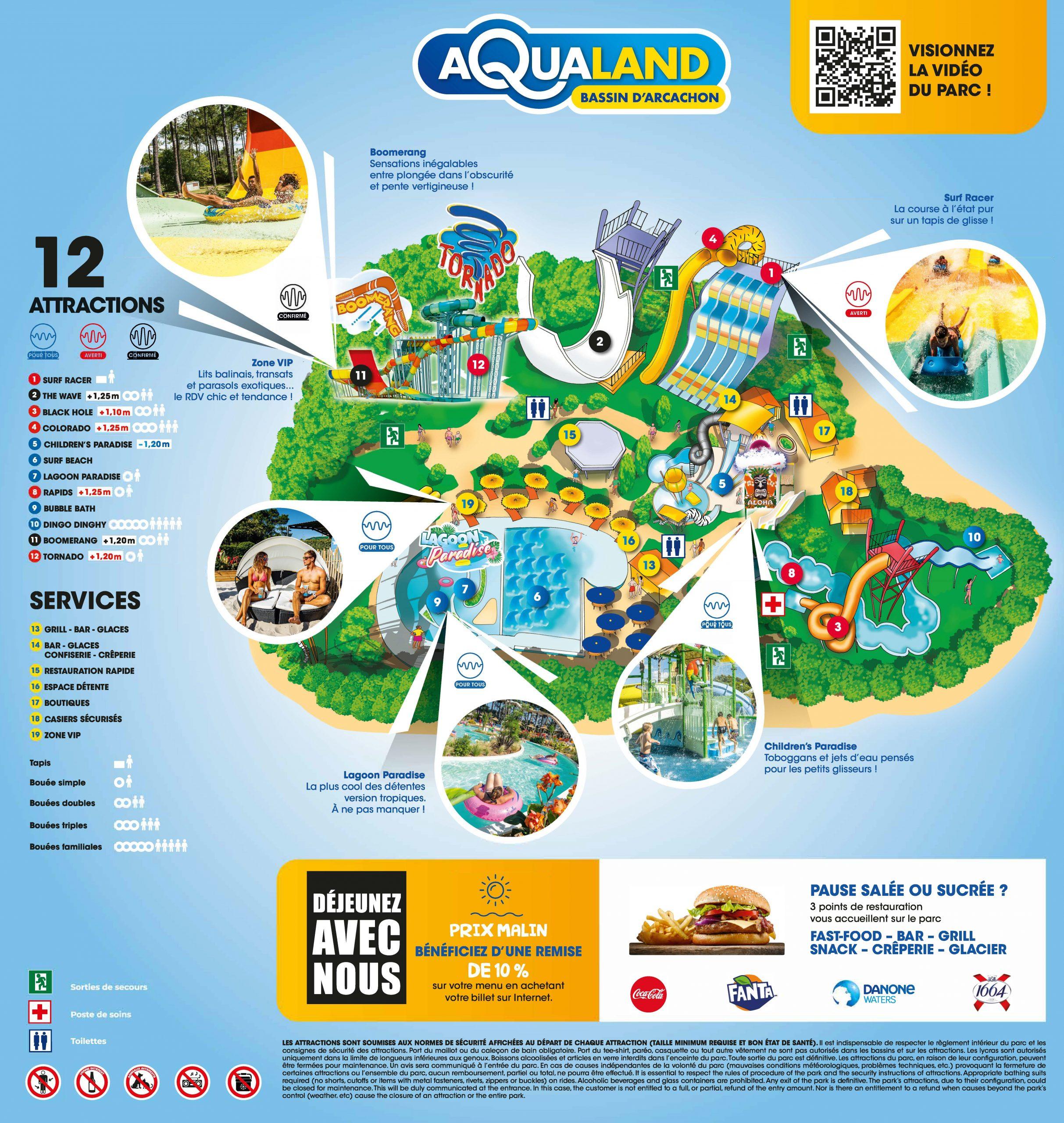 plan du parc aqualand bassin darcachon